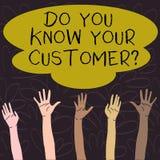 Handskrifttext vet du din kundfr?ga Begrepp som betyder service f?r att identifiera klienter med relevant information vektor illustrationer