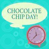 Handskrifttextchoklad Chip Day Begreppsbetydelsedatumet som tycker om smakliga bitar av chocoen i dina kakor, förbigår färg stock illustrationer