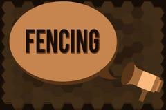 Handskrifttextfäktning För konkurrenssport för begrepp installerar menande stridighet med svärd serier av staket royaltyfri illustrationer