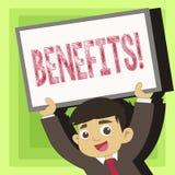 Handskrifttextfördelar Begrepp som betyder hjälpmedlet för vinst för intäkt för intresse för fördelsförsäkringkompensation royaltyfri illustrationer