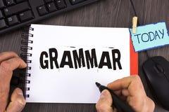 Handskrifttextgrammatik Menande system för begrepp och struktur av regler för en handstil för språk som korrekta riktiga är skrif Arkivfoto