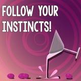 Handskrifttexthandstil följer dina instinkter Begreppsbetydelsen lyssnar till din intuition och att lyssna till din hjärta royaltyfri illustrationer