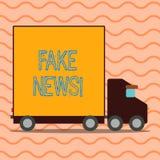 Handskrifttexthandstil fejkar nyheterna Falska berättelser för begreppsbetydelse som verkar att fördela på internet genom att anv stock illustrationer