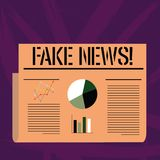 Handskrifttexthandstil fejkar nyheterna Falska berättelser för begreppsbetydelse som verkar att fördela på internet genom att anv vektor illustrationer
