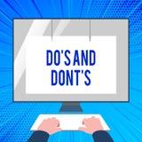 Handskrifttexthandstil gör S och gör inte S Begrepp som betyder på regler eller egenar angående några aktivitet eller handlinghän vektor illustrationer