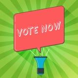 Handskrifttexthandstil röstar nu Formell indikering för begreppsbetydelse av valet mellan två eller mer tillvägagångssättmegafon vektor illustrationer