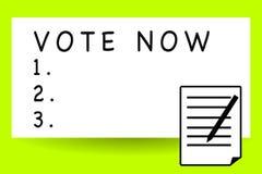 Handskrifttexthandstil röstar nu Formell indikering för begreppsbetydelse av valet mellan två eller mer tillvägagångssättark av b stock illustrationer