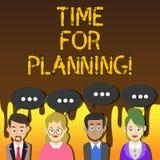 Handskrifttexthandstil Tid för att planera Begreppsbetydelsestart av ett projekt som gör beslut som organiserar schema stock illustrationer