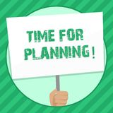 Handskrifttexthandstil Tid för att planera Begreppsbetydelsestart av ett projekt som gör beslut som organiserar schemahanden stock illustrationer