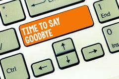 Handskrifttexthandstil Tid som säger farväl Begreppsbetydelsen som bjuder avsked ser så länge att du att bruka oss möter igen arkivbild