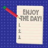 Handskrifttexthandstil tycker om dagen Begrepp som betyder den lyckliga livsstilen för njutning som kopplar av Tid vektor illustrationer