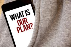 Handskrifttexthandstil vad är vår planfråga För beskickningavsikt för begrepp menande för Strategize för dagordning sänka för fro royaltyfria bilder