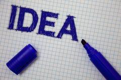 Handskrifttextidé Begreppet som betyder den idérika innovativa tänkande kvadrerade anteckningsboken för fantasidesignplanläggning royaltyfri foto