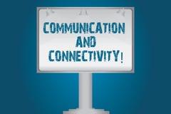 Handskrifttextkommunikation och uppkopplingsmöjlighet Begreppet som betyder sociala anslutningar till och med den tomma lampan fö royaltyfri illustrationer