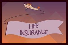 Handskrifttextlivförsäkring Menande betalning för begrepp av jordfästningen för dödfördel eller skadaeller den medicinska reklama stock illustrationer