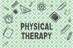 Handskrifttextsjukgymnastik Menande behandling för begrepp eller analysisaging sjukgymnastik för fysiskt handikapp royaltyfri illustrationer