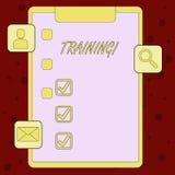 Handskrifttextutbildning Begrepp som betyder organiserad aktivitet för att framkalla expertisuppsättningen av uppvisning av skriv vektor illustrationer