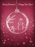 HandskriftXmas-boll med snögubben för beröm för glad jul på purpurfärgad bakgrund med ljus, stjärnor Vektor eps Fotografering för Bildbyråer