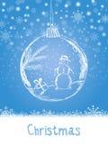 HandskriftXmas-kortet med bollen och snögubben för beröm för glad jul på blått snöar bakgrund med snöflingor Vektor eps stock illustrationer