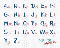 Handskriven alfabetvektor för barn Den engelska stilsorten märker illustrationen Arkivbilder