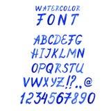 Handskriven blå vattenfärgstilsort med nummer Stock Illustrationer