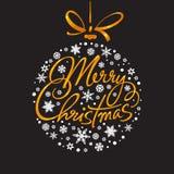 Handskriven bokstäver för glad jul Royaltyfri Bild