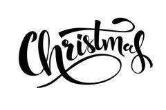Handskriven bokstäver för glad jul Svart text som isoleras på vit bakgrund Julferietypografi vektor stock illustrationer