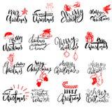 Handskriven bokstäver för glad jul Typografisk emblemuppsättning Vektorlogo, textdesign Användbart för baner och att hälsa stock illustrationer