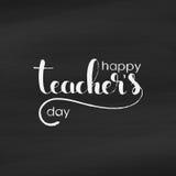 Handskriven bokstäver för lycklig dag för lärare` s royaltyfri illustrationer