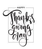 Handskriven bokstäver för vektor av den lyckliga tacksägelsedagen i ram på vit bakgrund Fotografering för Bildbyråer