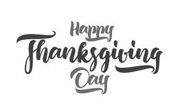 Handskriven bokstäver för vektor av den lyckliga tacksägelsedagen på vit bakgrund Arkivfoton