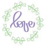 Handskriven bokstäver Violett teckenförälskelse i cirkelram Rund grön ram bröllop för abstraktionkortillustration Ljus illustrati royaltyfri illustrationer