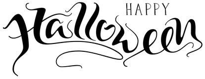 Handskriven bokstävertext för lycklig allhelgonaafton för hälsningkort stock illustrationer