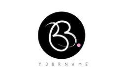 Handskriven borstebokstav Logo Design för BB med den svarta cirkeln arkivbild
