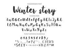 Handskriven borstestilsort Hand dragen modern kalligrafi för borstestil fotografering för bildbyråer