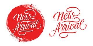 Handskriven inskrift för ny ankomst med röd bakgrund för cirkelborsteslaglängd vektor illustrationer