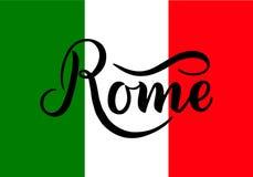 Handskriven inskrift Rome och färger av nationsflaggan av Italien på bakgrund Hand dragen bokstäver calligraphic royaltyfria bilder