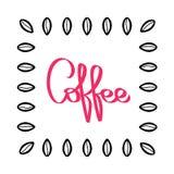 Handskriven kaffemodellvektor Hand drog kaffebönor Svart och röd illustration Bönatextur på vit bakgrund stock illustrationer