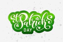 Handskriven märka typografi för lyckliga Sts Patrick dag design tecknad elementhand Logoer och emblem för inbjudan, kort royaltyfri foto