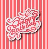 Handskriven modern borstebokstäver av den lyckliga födelsedagen arkivfoto
