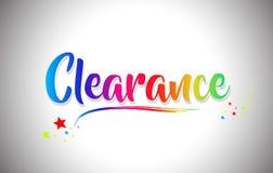 Handskriven ordtext för rensning med regnbågefärger och vibrerande Swoosh vektor illustrationer
