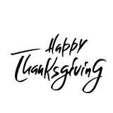Handskriven tacksägelsedagbokstäver också vektor för coreldrawillustration Lycklig mall för tacksägelsedagkort Arkivbilder