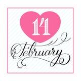 14 handskriven text för Februari beröm Royaltyfri Fotografi