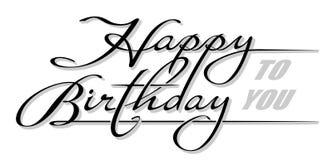 """Handskriven text """" för understrykning; Lycklig födelsedag till you' med skugga Hand dragen kalligrafibokstäver med kopierings royaltyfri illustrationer"""