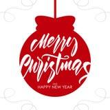 Handskriven texturerad Calligraphic bokstäver för borsten av Marry jul och det lyckliga nya året på röd jul klumpa ihop sig bakgr stock illustrationer