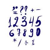 Handskriven uppsättning med nummer och royaltyfri illustrationer