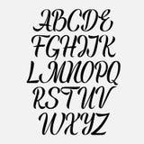 Handskriven vektoraphabet Dragen hand märka stilsorten Kursiv typ för borsteskriftkalligrafi royaltyfri illustrationer