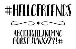 handskrivet alfabet vektor f?r stil f?r stilsort f?r design f?r abc-alfabet f?rgrik stock illustrationer
