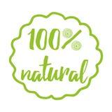 Handskrivet bokstävertryck med uttryck 100 som är naturligt för rmarket, produktemblem, etikett royaltyfri illustrationer
