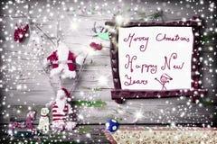 Handskrivet hälsningkort för gullig jul Royaltyfri Bild